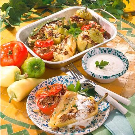 Gefülltes Gemüse mit Hackfleisch und Joghurtsoße Rezept