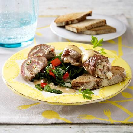 Gefülltes Kalbsschnitzel zu Spinat-Paprika-Gemüse Rezept