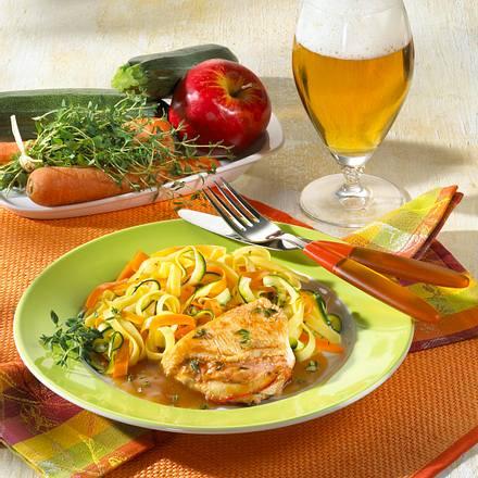 Gefülltes Putenschnitzel mit Gemüsenudeln Rezept