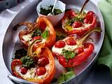 Gegrillte Paprikaschoten mit Kirschtomaten, Mozzarella und Basilikum-Pesto Rezept