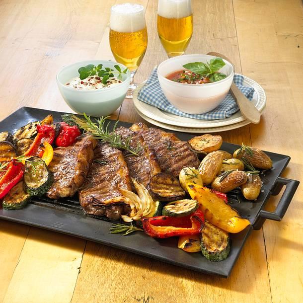 Gegrillte Rumpsteaks mit Gemüse Rezept