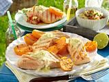 Gegrillter Lachs mit Limetten-Butter und Süßkartofeln Rezept