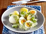 Gekochte Eier mit Kräutersoße Rezept