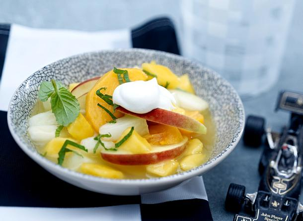 Gelbe Grütze mit Mango und Honigmelone Rezept