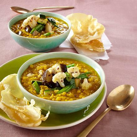 Gelbe Linsen-Dal mit Gemüse Rezept