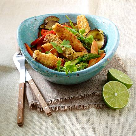 Gelbes Gemüsecurry mit Kokos-Tofu-Sticks Rezept