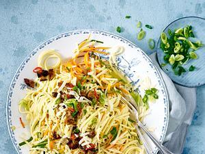Gemüse-Carbonara mit Linguine Rezept