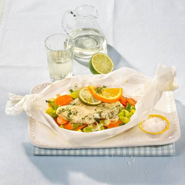 Gemüse-Fisch-Päckchen Rezept