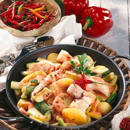 Gemüse-Fisch-Pfanne Rezept
