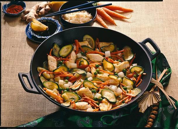 Gemüse-Fischpfanne aus dem Wok Rezept