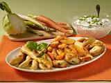 Gemüse in Weinteig mit Dip Rezept