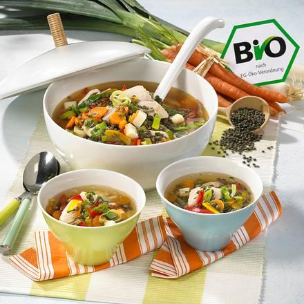 Gemüse-Linsen-Suppe mit Hähnchen Rezept