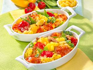Gemüse-Nudel-Gratin mit Schnitzelstreifen Rezept