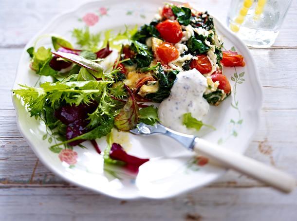 Gemüse-Omelett mit Senfcreme