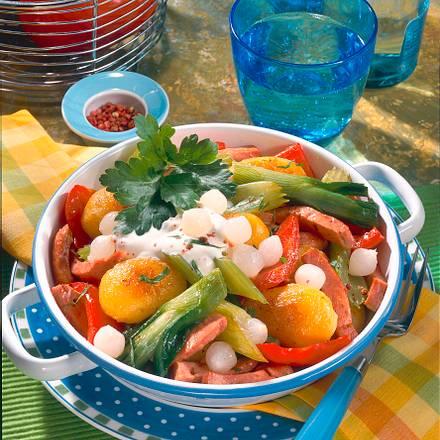 Gemüse-Pfanne mit Fleischwurst Rezept