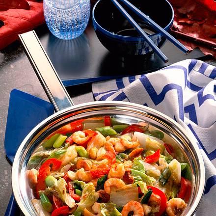 Gemüse-Pfanne mit Shrimps Rezept