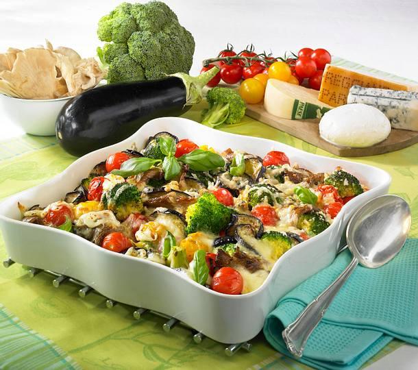 Gemüse-Pilz-Gratin mit Mozzarella Rezept