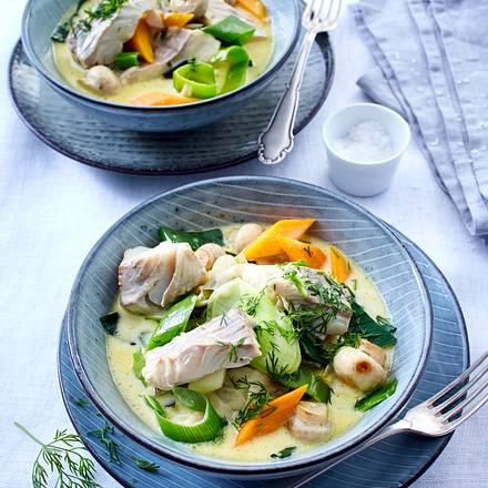 Gemüse-Ragout mit Seelachsfilet Rezept
