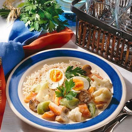 Gemüse-Reis-Ragout mit Eiern Rezept