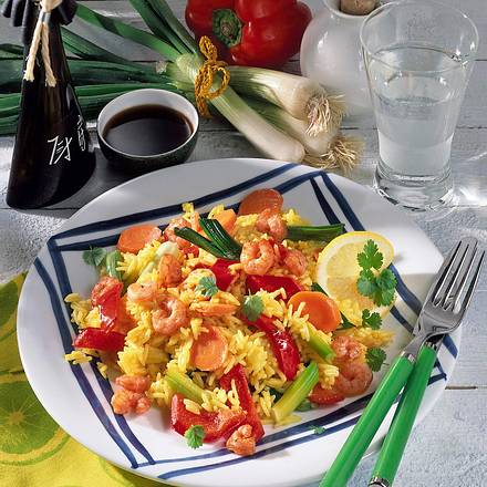 Gemüse-Reispfanne mit Krabben Rezept