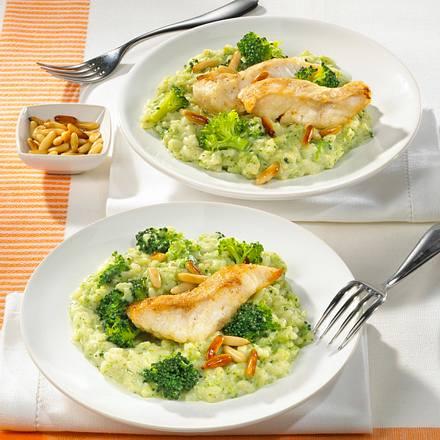Gemüse-Risotto mit gebratenem Fischfilet Rezept