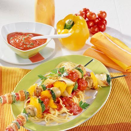 Gemüse-Schaschlik auf Spaghetti Rezept