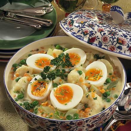 Gemüse-Schüssel mit Ei Rezept