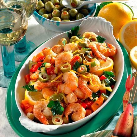 Gemüse und Garnelen aus dem Ofen Rezept