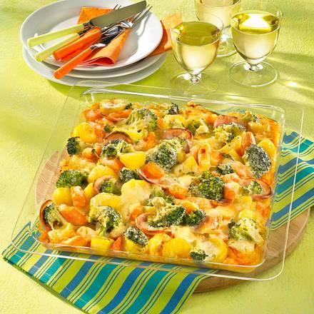 Gemüse-Wurstgratin vom Blech Rezept