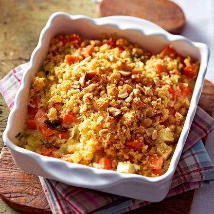 Gemüseauflauf mit Mandel-Käse-Crumble Rezept