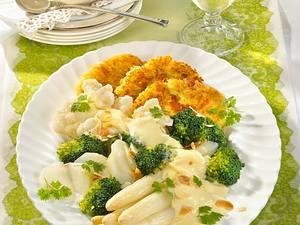 Gemüseplatte mit Kartoffelplätzchen Rezept