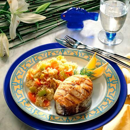 Gemüserisotto mit gegrilltem Dorschkotelett Rezept