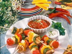 Gemüsespieße mit Salsa & Schmand Rezept