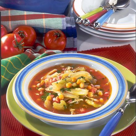Gemüsesuppe mit Kichererbsen ( Diabetiker) Rezept