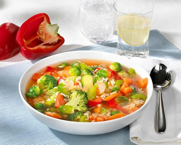 Gemüsesuppe mit Reis Rezept