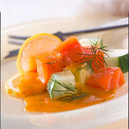 Geräucherter Lachs mit Gurkensalat Rezept