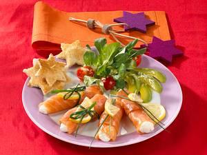 Geräucherter Lachs mit Meerrettichsoße und Feldsalat Rezept
