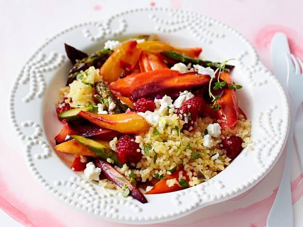Gerösteter Gemüse-Salat mit Himbeeren Rezept