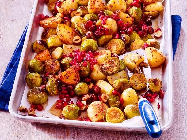 Geröstetes Gemüse mit Granatapfel Rezept