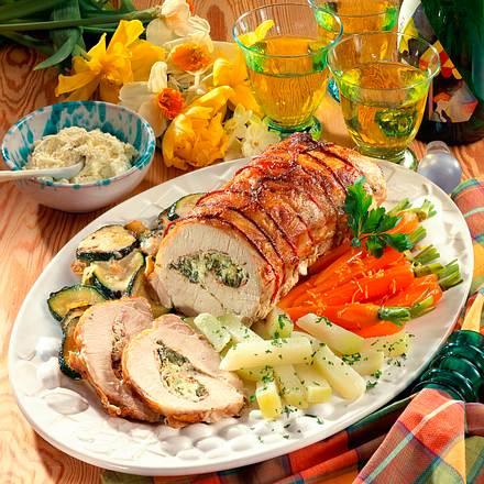 Gerollter Schweinebraten mit buntem Gemüse Rezept