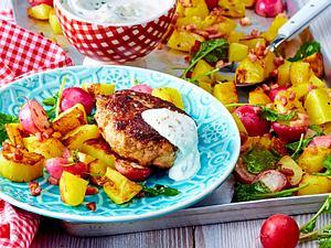 Geröstetes Radieschen-Kartoffel-Gemüse zu Frikadellen Rezept