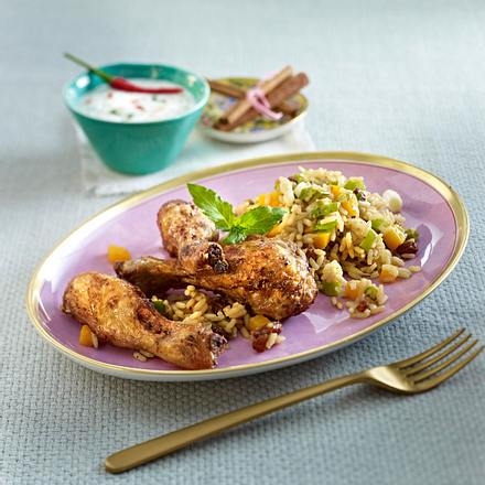 Geschmorte Hähnchenkeulen auf Gewürzreis (Chicken Biryani) Rezept