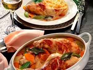Geschmorte Kaninchenkeulen auf Suppengemüse Rezept