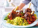Geschmorte Lammhaxen auf orientalischem Reis Rezept