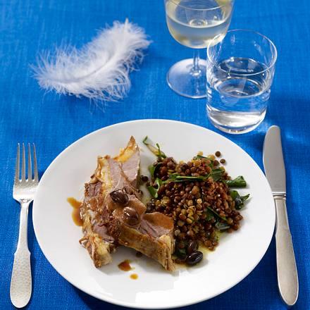 Geschmorte Lammschulter mit Mangold-Linsen-Salat (Poletto Ostermenü) Rezept