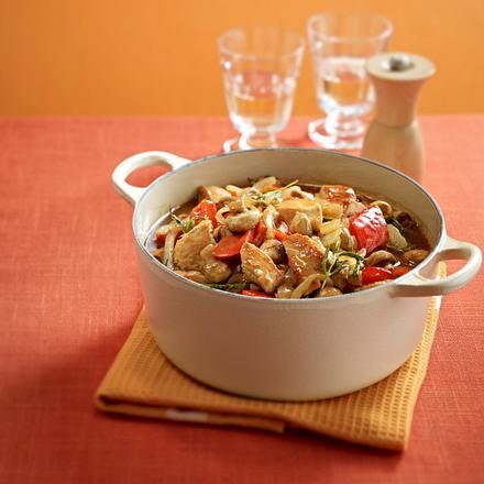 Geschmorte Putenbrust mit Paprika und Pilzen Rezept