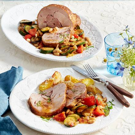Geschmorte Putenoberkeule auf Ratatouille-Gemüse Rezept