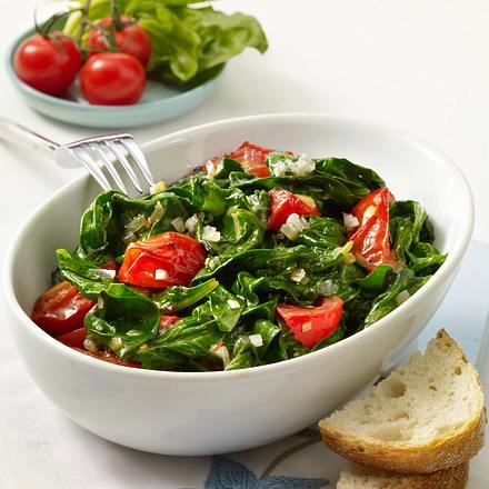 Geschmorte Tomaten mit Spinat Rezept