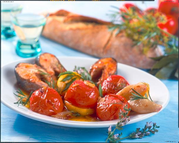 Geschmorte Tomaten und Lachs Rezept