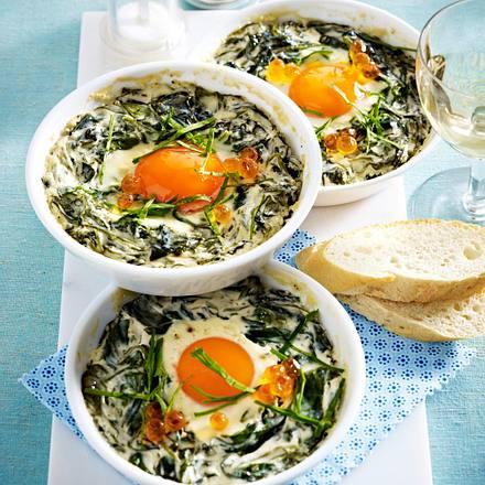 Geschmortes Ei mit Sauerampfer Rezept